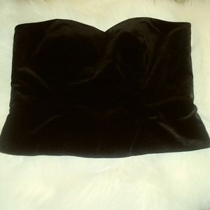 Large black velvet Vera Mont sweetheart tube top